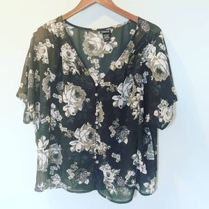 Torrid Floral Black White Button Flowy Blouse